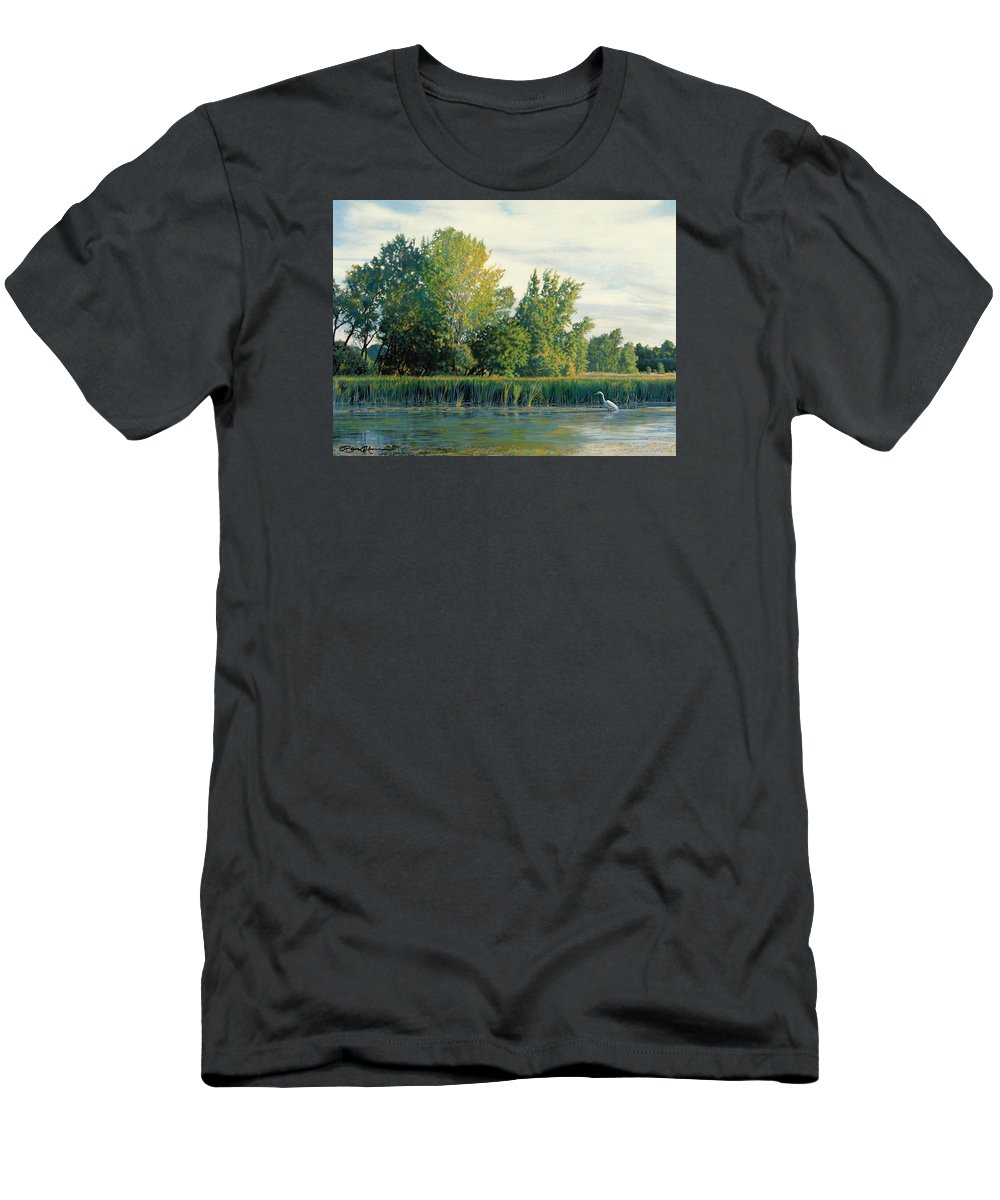 Great Egret Men's T-Shirt (Athletic Fit) featuring the drawing North Of The Grade-great Egret by Bruce Morrison