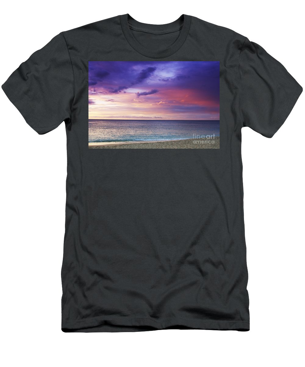 Beachfront Men's T-Shirt (Athletic Fit) featuring the photograph North Shore Beach Sunset by Vince Cavataio - Printscapes