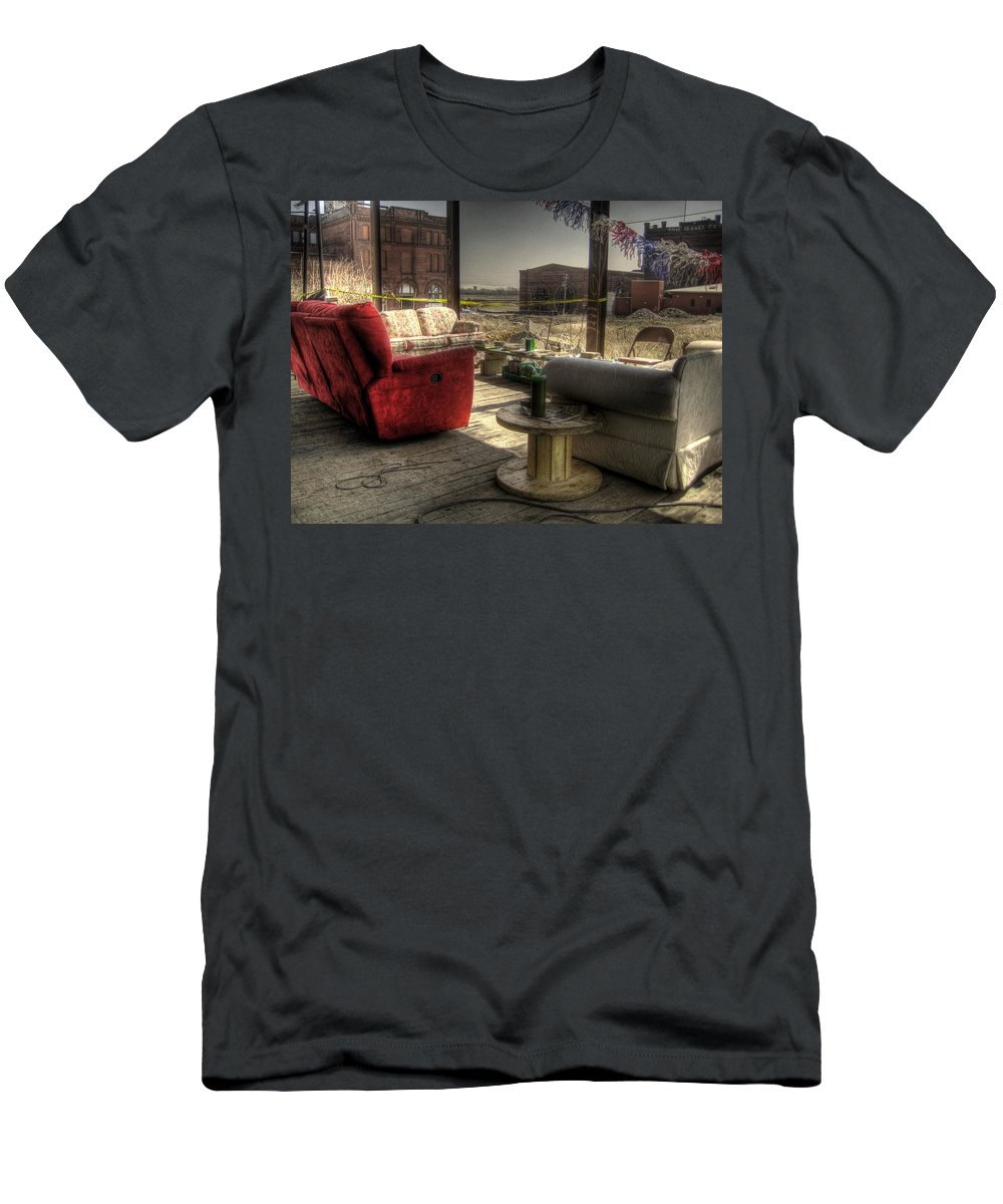 Hdr Men's T-Shirt (Athletic Fit) featuring the photograph North St. Louis Porch by Jane Linders