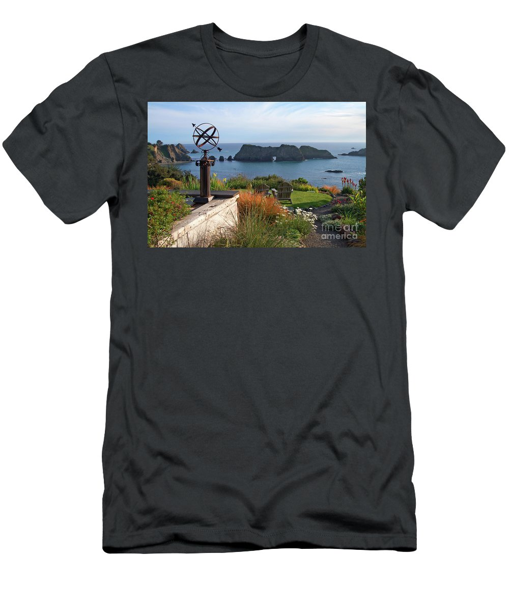 Mendocino Men's T-Shirt (Athletic Fit) featuring the photograph Northern California Coast View by Charlene Mitchell
