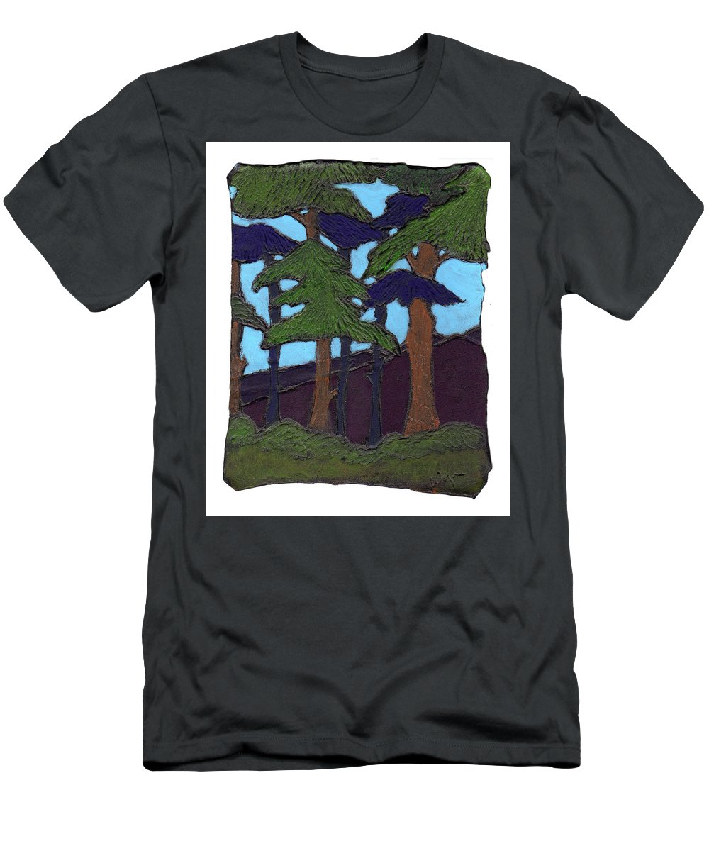 Tree Men's T-Shirt (Athletic Fit) featuring the painting Northern Woods by Wayne Potrafka