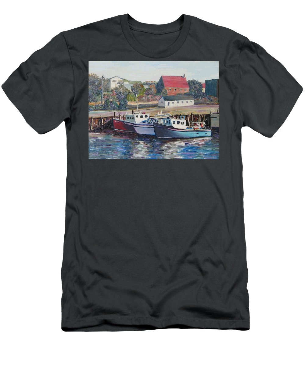 Nova Scotia Men's T-Shirt (Athletic Fit) featuring the painting Nova Scotia Boats by Richard Nowak