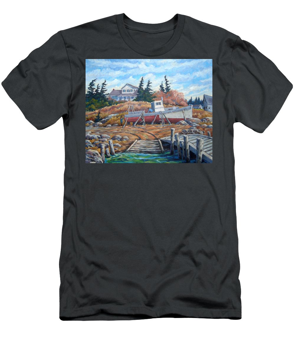 Boat Men's T-Shirt (Athletic Fit) featuring the painting Novia Scotia by Richard T Pranke