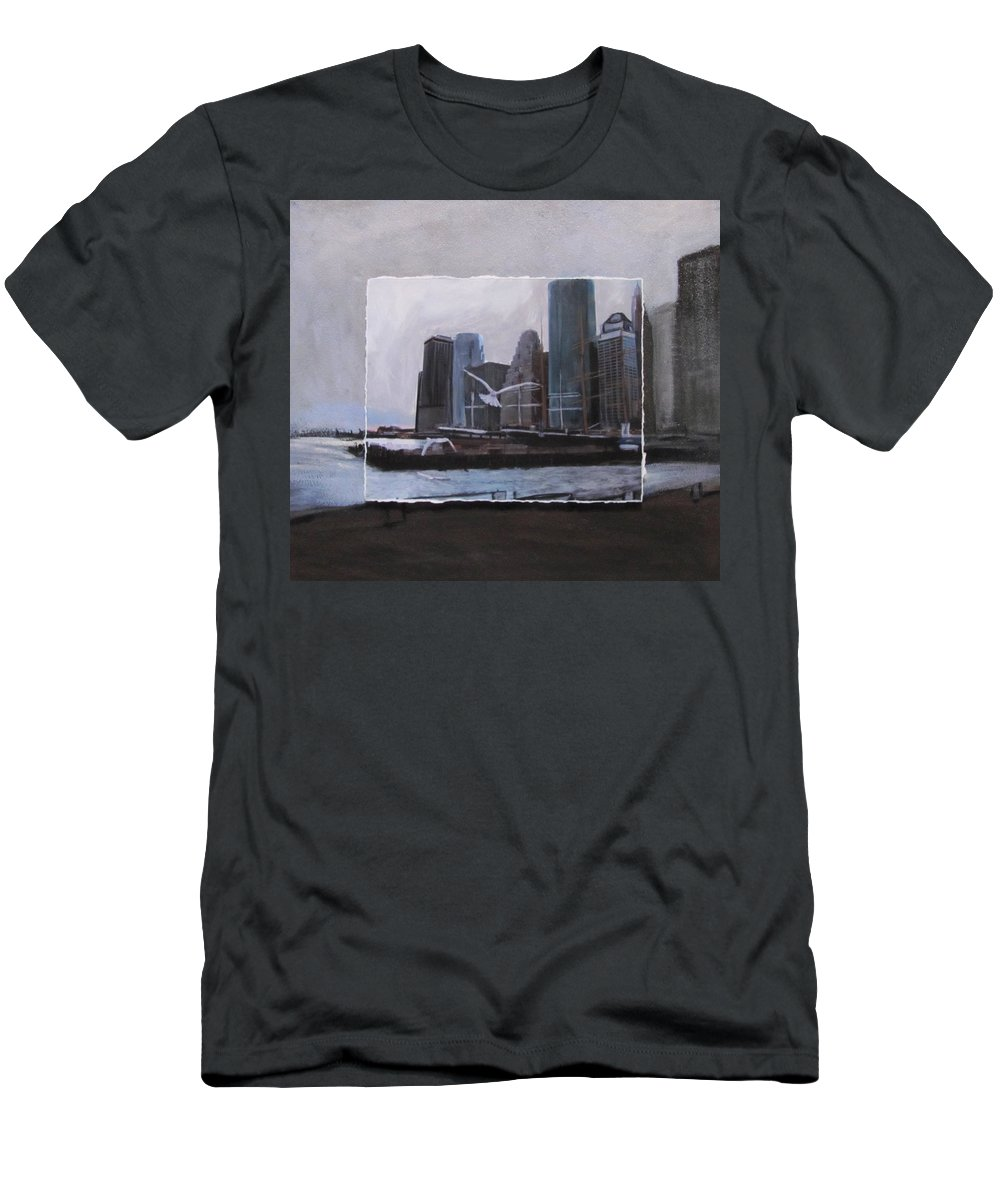 Nyc T-Shirt featuring the mixed media NYC Pier 11 layered by Anita Burgermeister