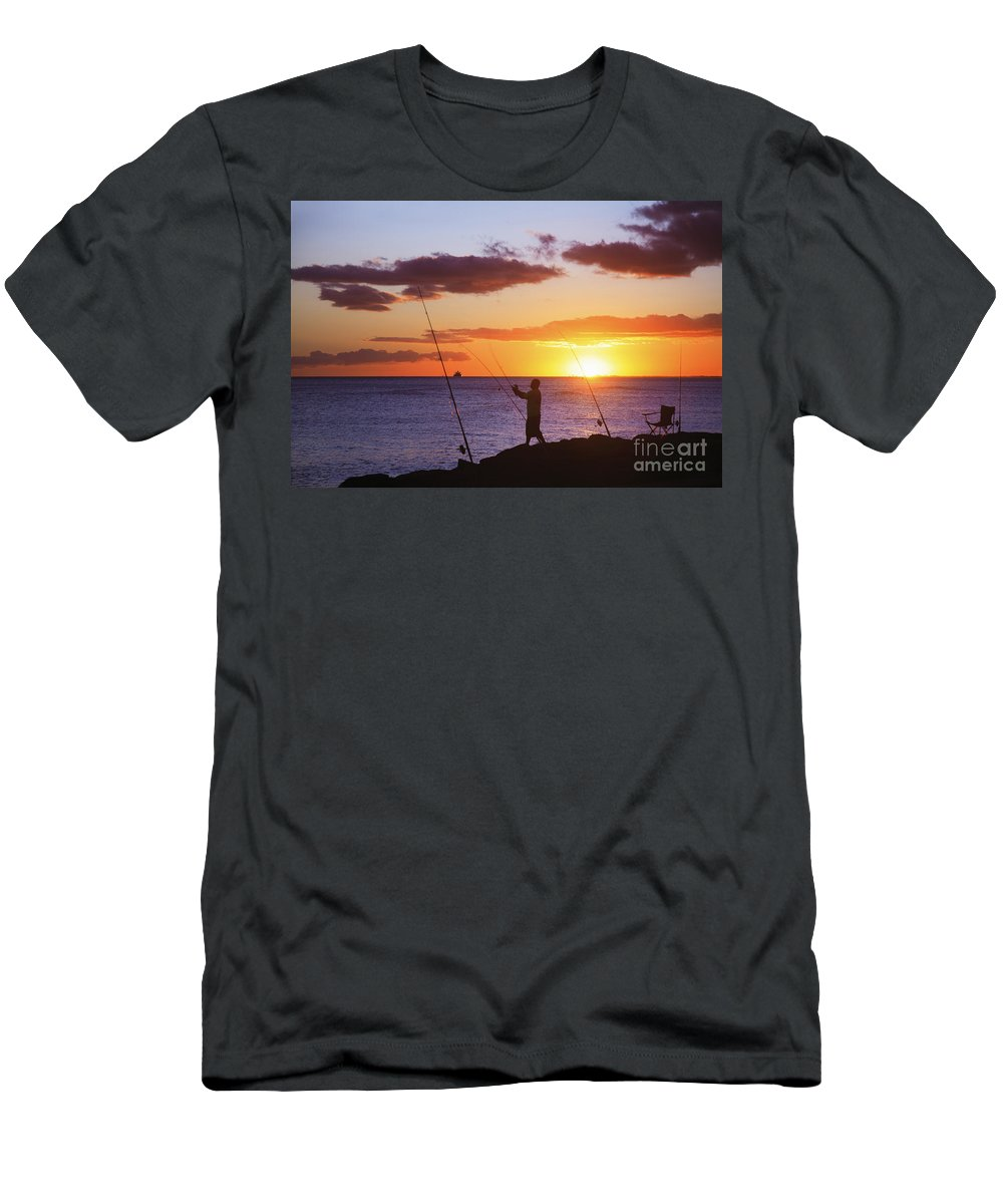 Beach Men's T-Shirt (Athletic Fit) featuring the photograph Oahu Fisherman by Brandon Tabiolo - Printscapes