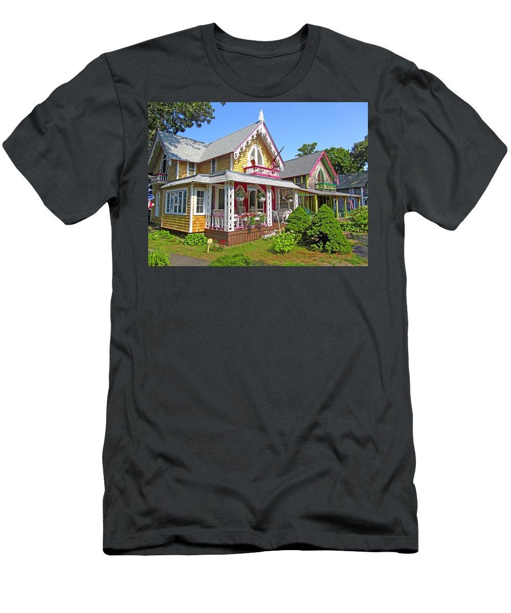 Oak Bluffs Gingerbread Cottages Men's T-Shirt (Athletic Fit) featuring the photograph Oak Bluffs Gingerbread Cottages 3 by Mark Sellers