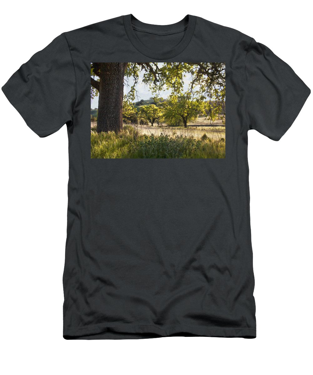 Tree Men's T-Shirt (Athletic Fit) featuring the digital art Oak Meadow by Sharon Foster