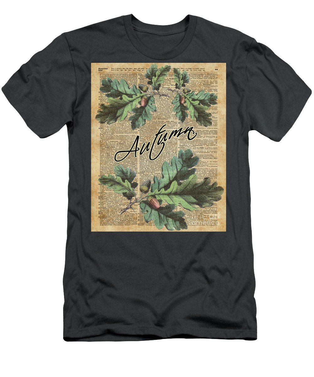 Dictionary Men's T-Shirt (Athletic Fit) featuring the digital art Oak Tree Leaves And Acorns, Autumn Dictionary Art by Anna W