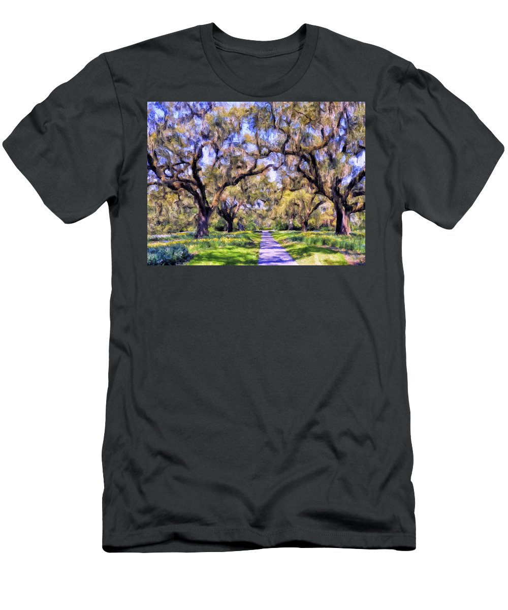 Oaks Men's T-Shirt (Athletic Fit) featuring the painting Oaks And Spanish Moss by Dominic Piperata