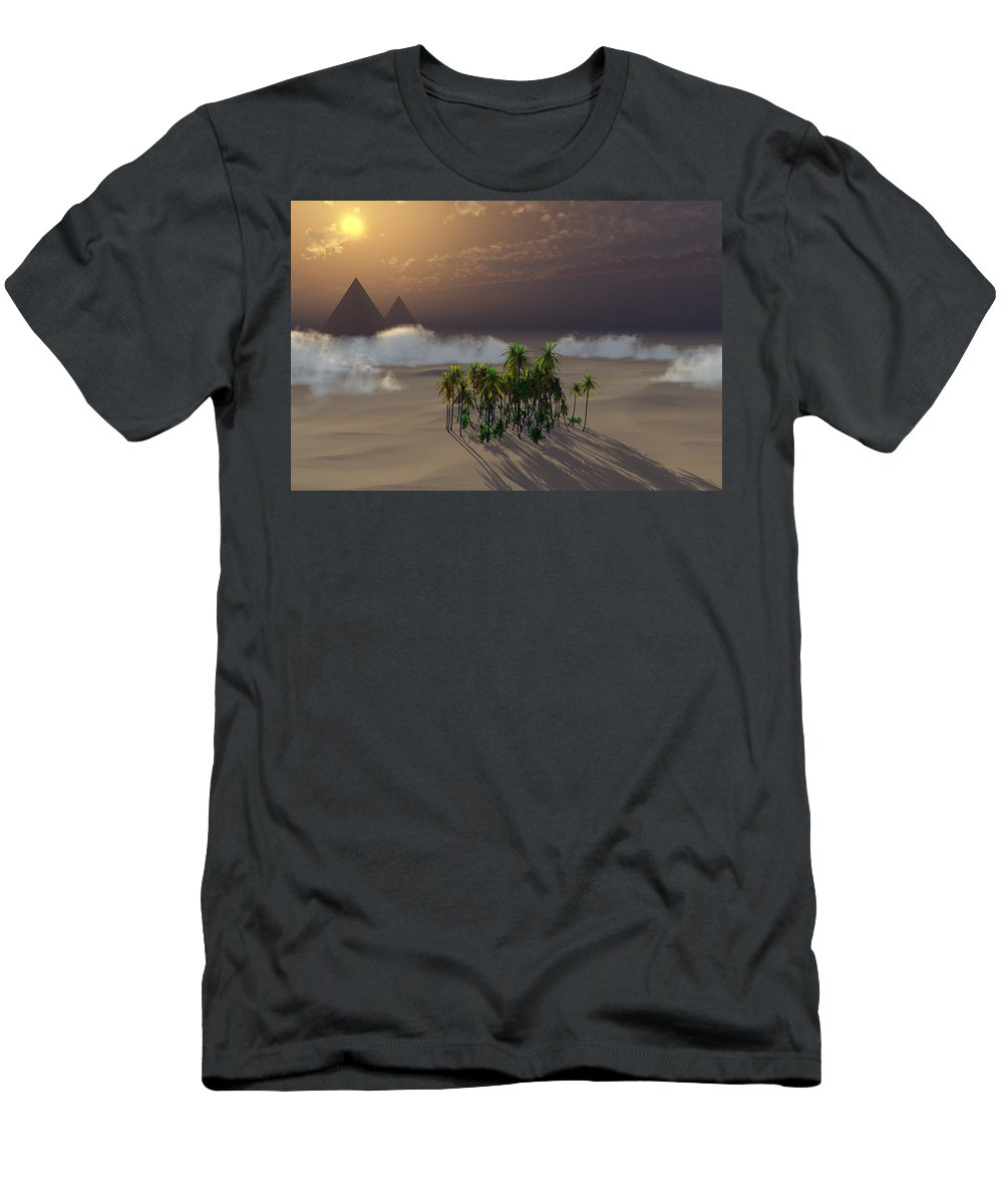 Deserts Men's T-Shirt (Athletic Fit) featuring the digital art Oasis by Richard Rizzo