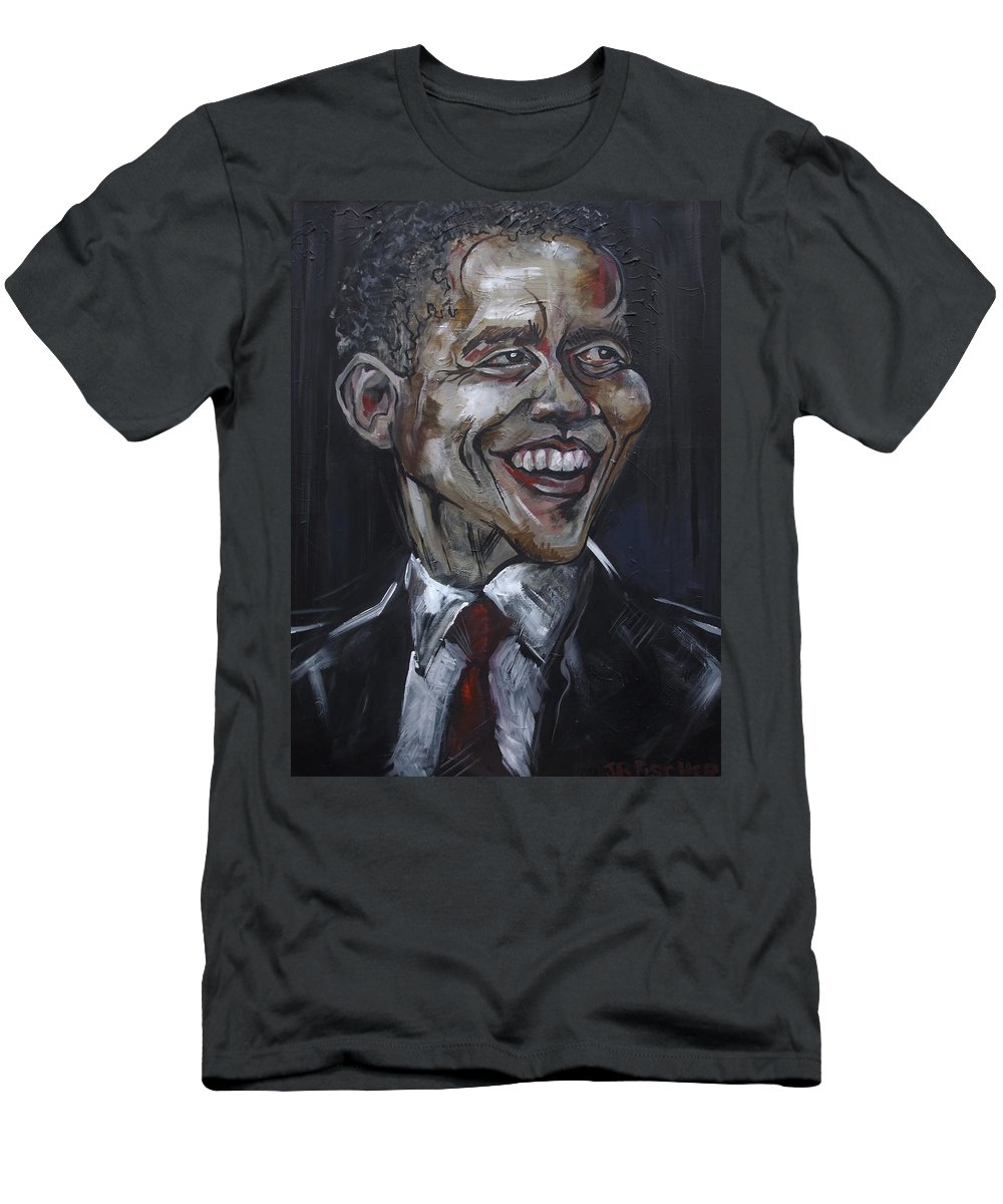Barack Obama Men's T-Shirt (Athletic Fit) featuring the painting Obama by Julie Fischer
