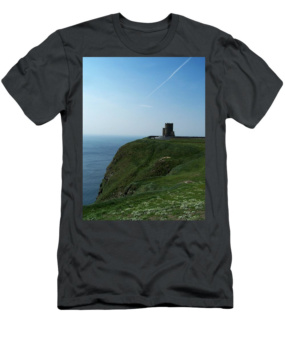 Irish Men's T-Shirt (Athletic Fit) featuring the photograph O'brien's Tower At The Cliffs Of Moher Ireland by Teresa Mucha
