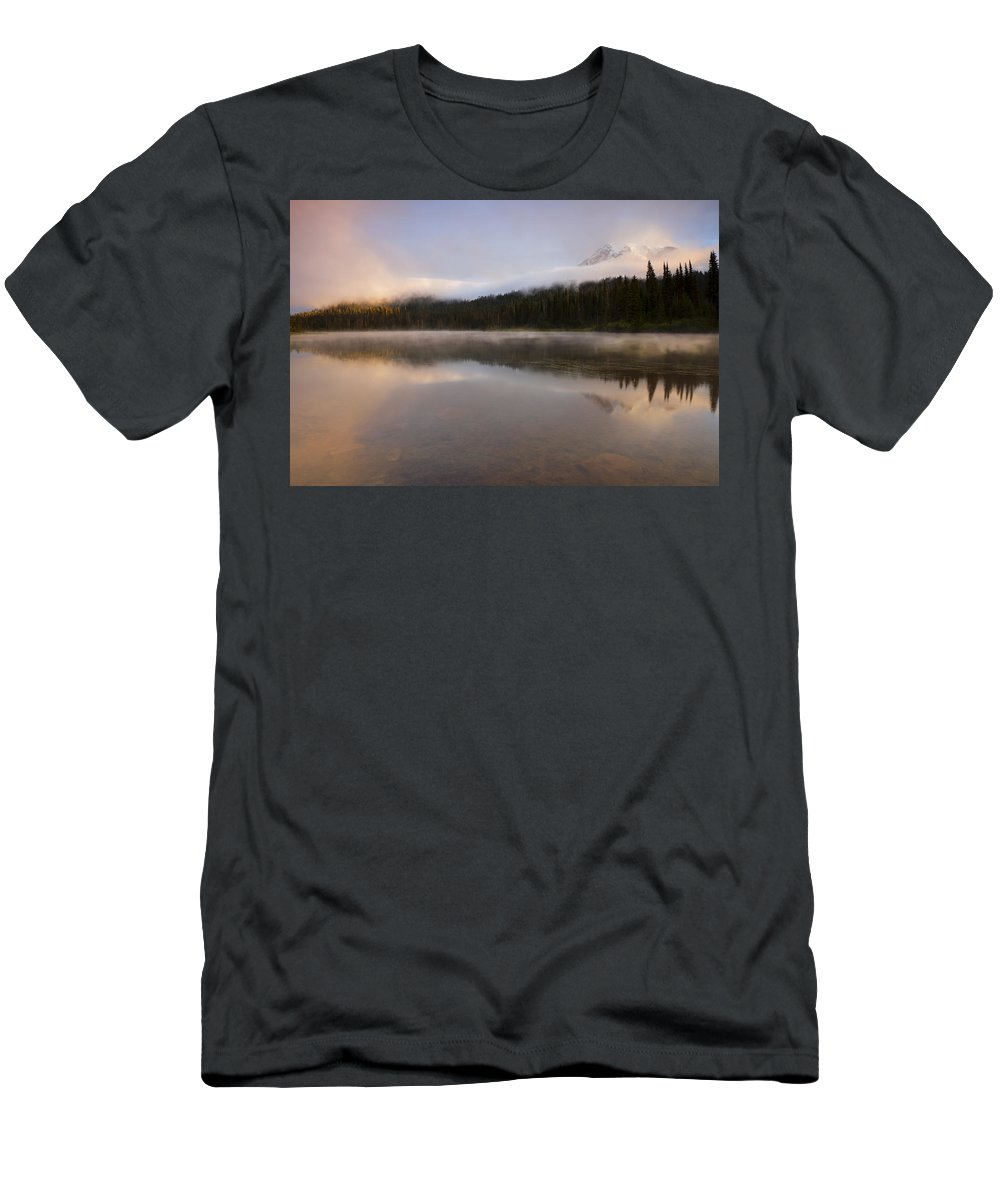 Mt. Rainier Men's T-Shirt (Athletic Fit) featuring the photograph Obscured Dawn by Mike Dawson