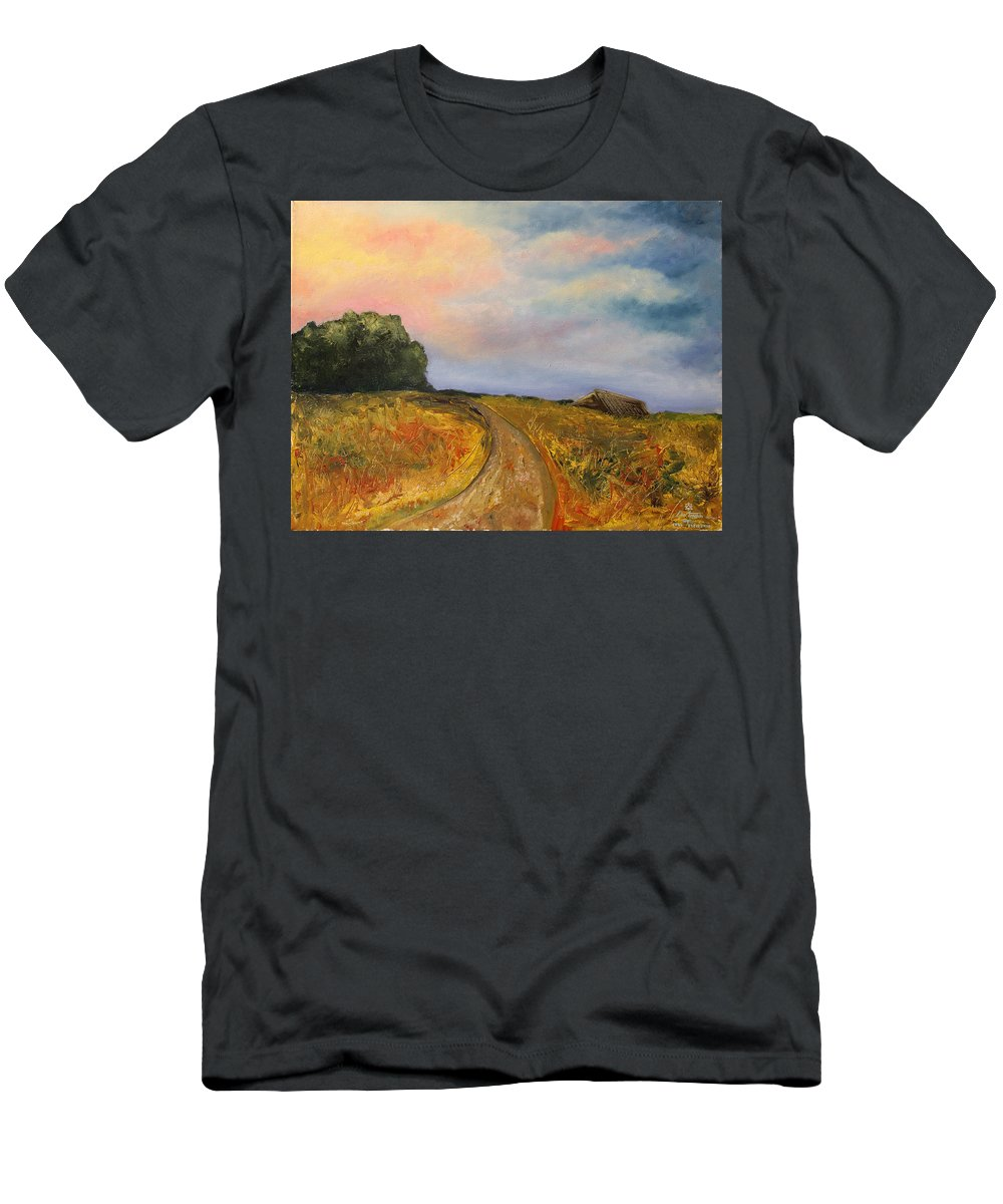 Landscape T-Shirt featuring the painting Obviously Covered by Darko Topalski