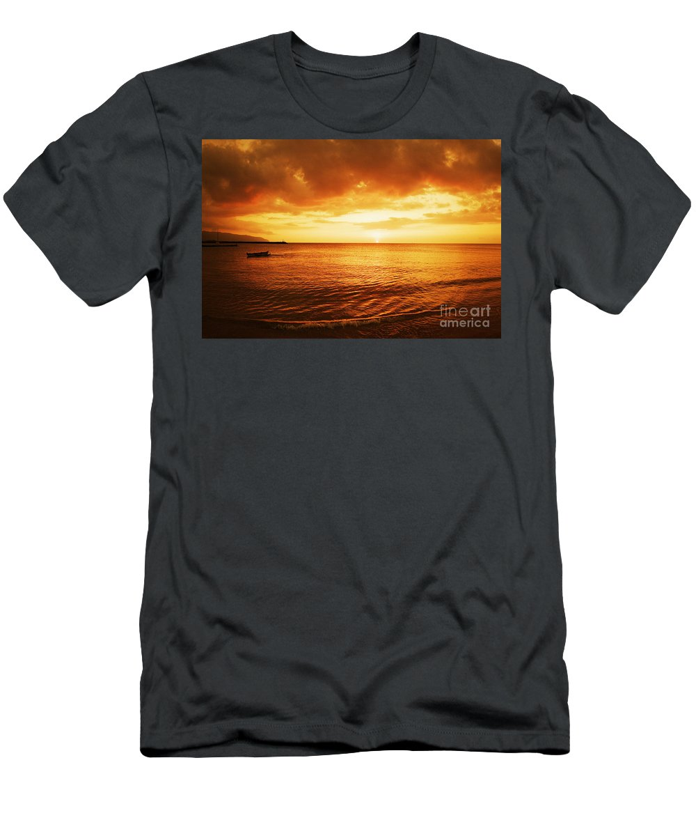 Beach Men's T-Shirt (Athletic Fit) featuring the photograph Ocean Sunset by Vince Cavataio - Printscapes