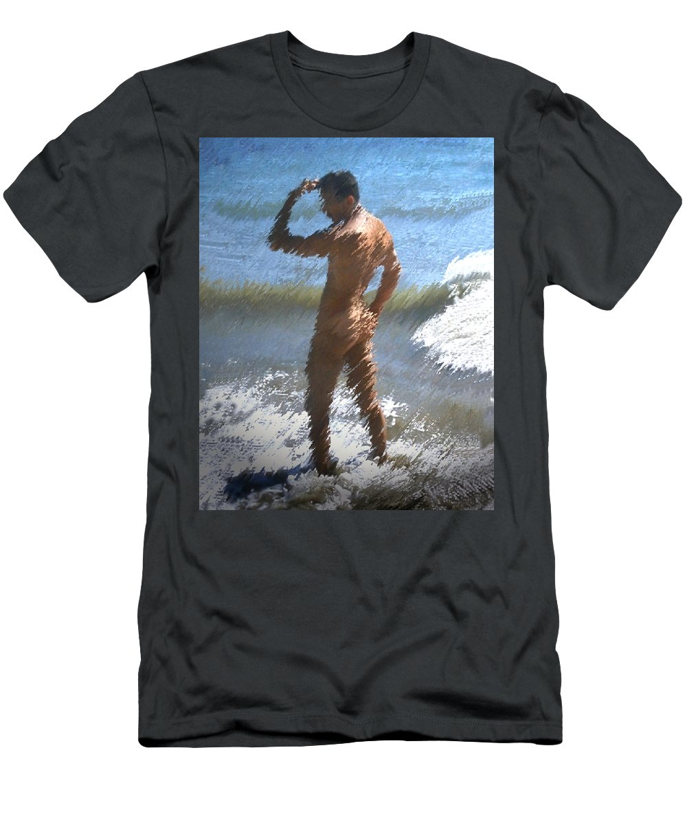 Nudes Men's T-Shirt (Athletic Fit) featuring the photograph Ocean Thoughts by Kurt Van Wagner
