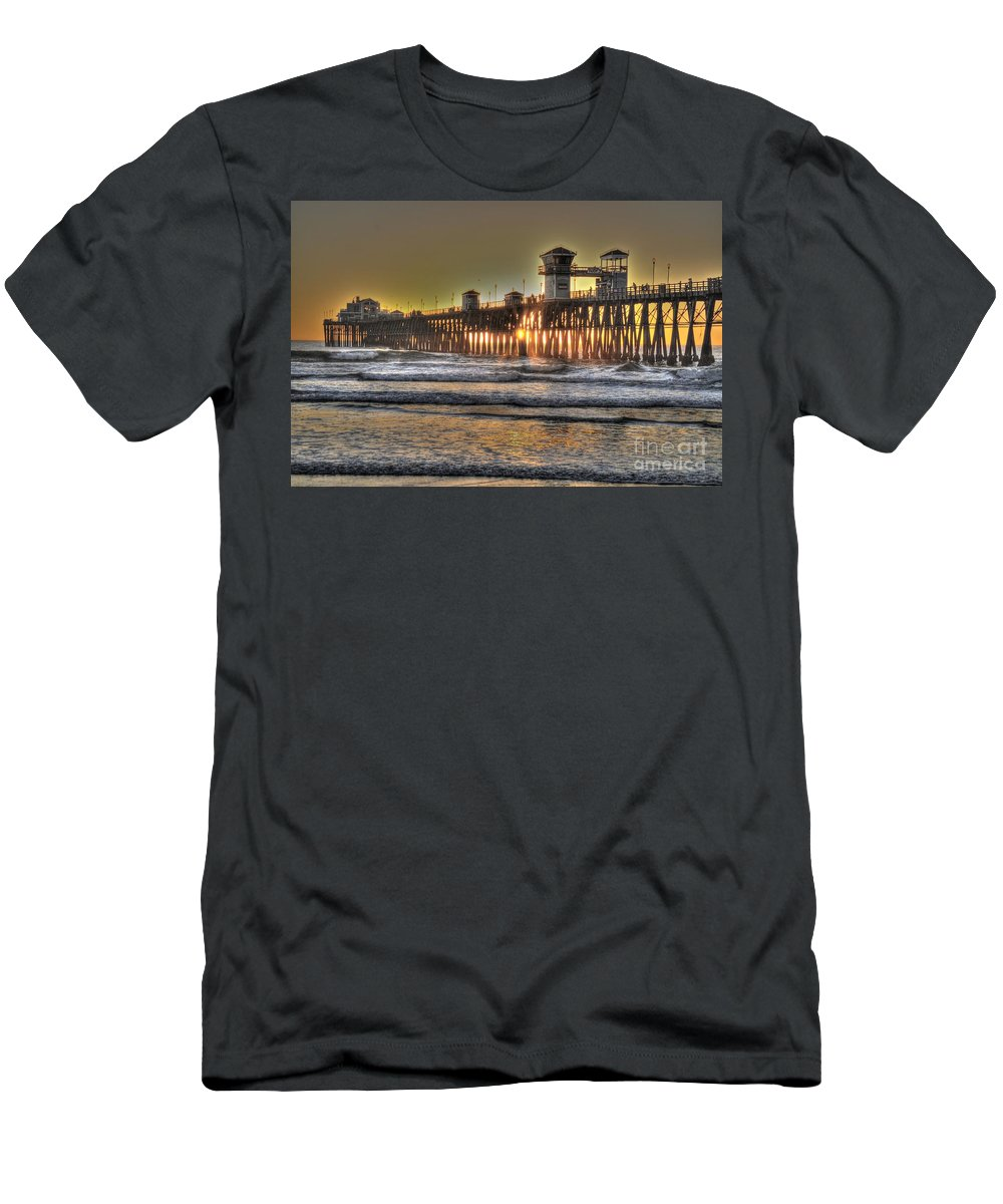 Hdr Men's T-Shirt (Athletic Fit) featuring the photograph Oceanside Pier Hdr by Bridgette Gomes