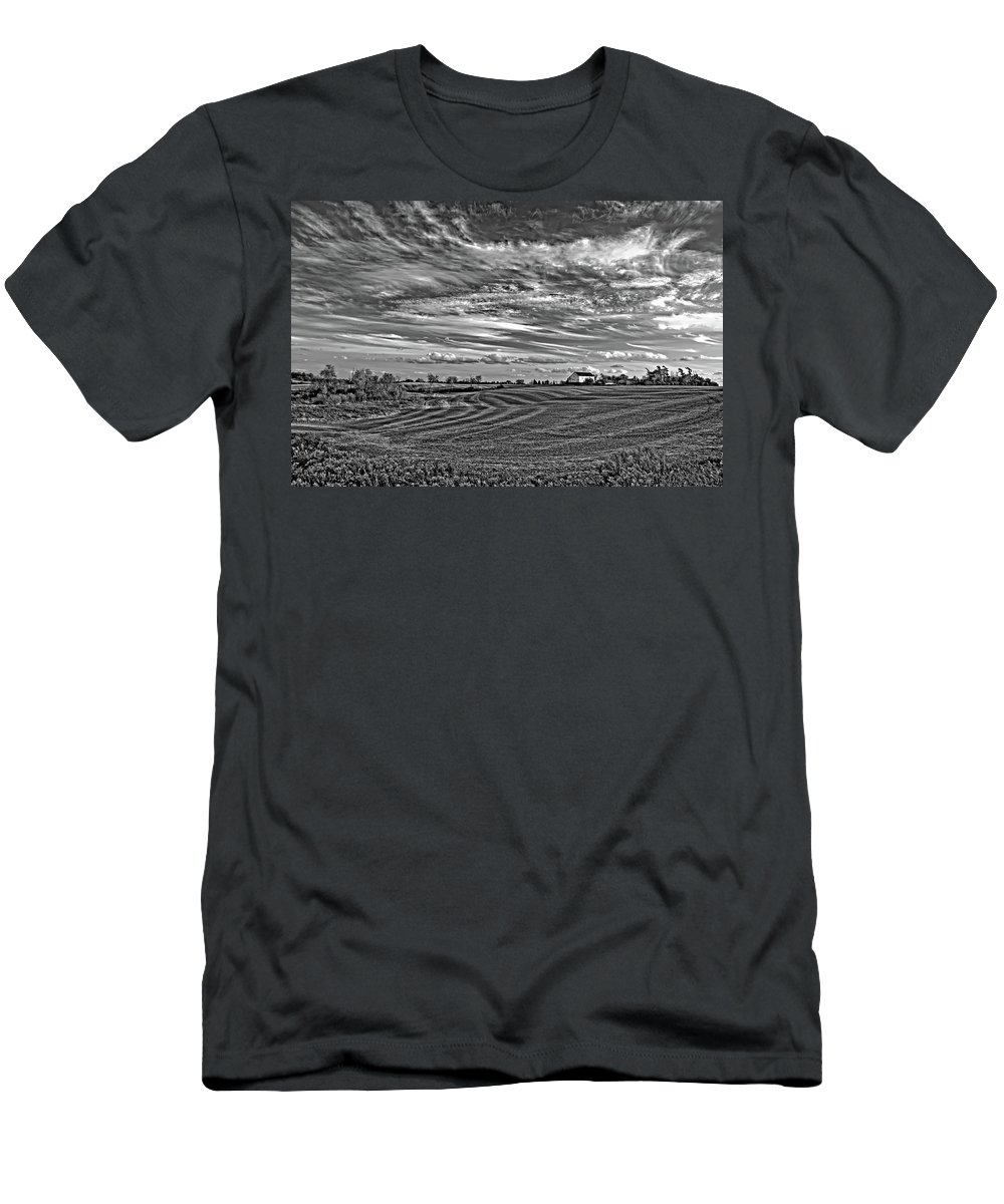 Landscape Men's T-Shirt (Athletic Fit) featuring the photograph October Patterns Bw by Steve Harrington