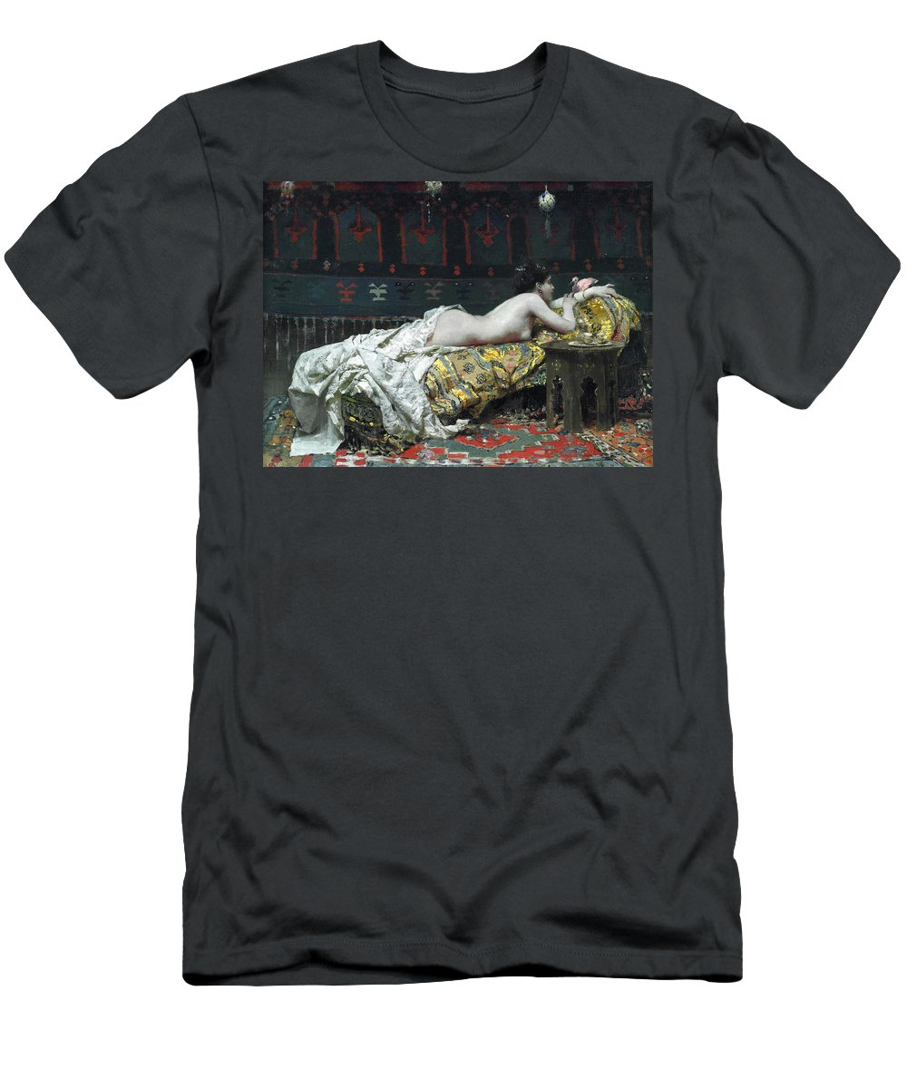 Francesco Netti Men's T-Shirt (Athletic Fit) featuring the painting Odalisque by Francesco Netti
