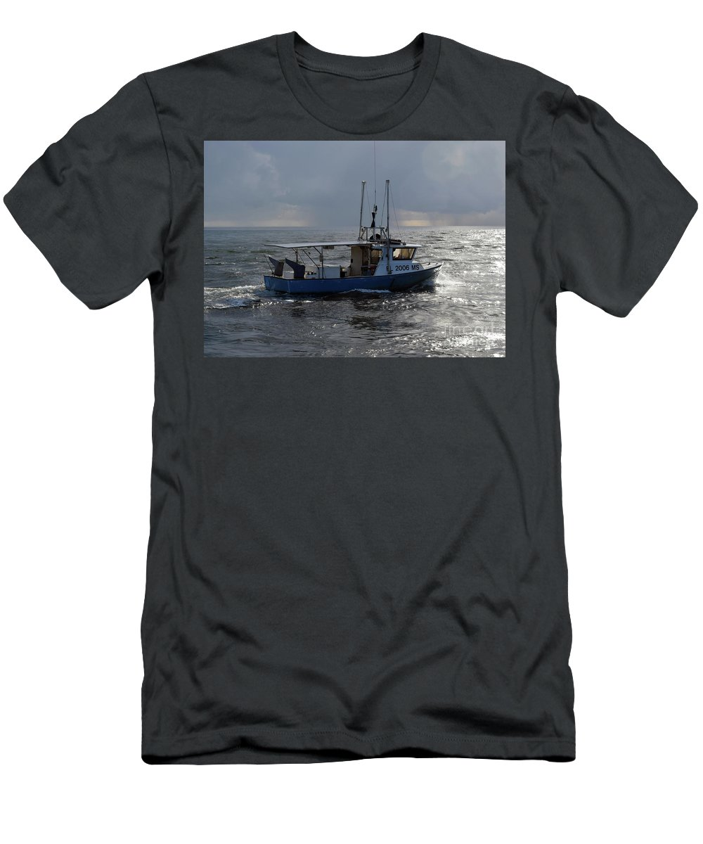 Boat Men's T-Shirt (Athletic Fit) featuring the photograph Off To Work by William Tasker