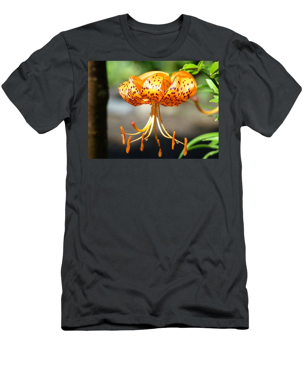 Lilies Men's T-Shirt (Athletic Fit) featuring the photograph Office Art Master Garden Lily Flower Art Print Tiger Lily Baslee Troutman by Baslee Troutman