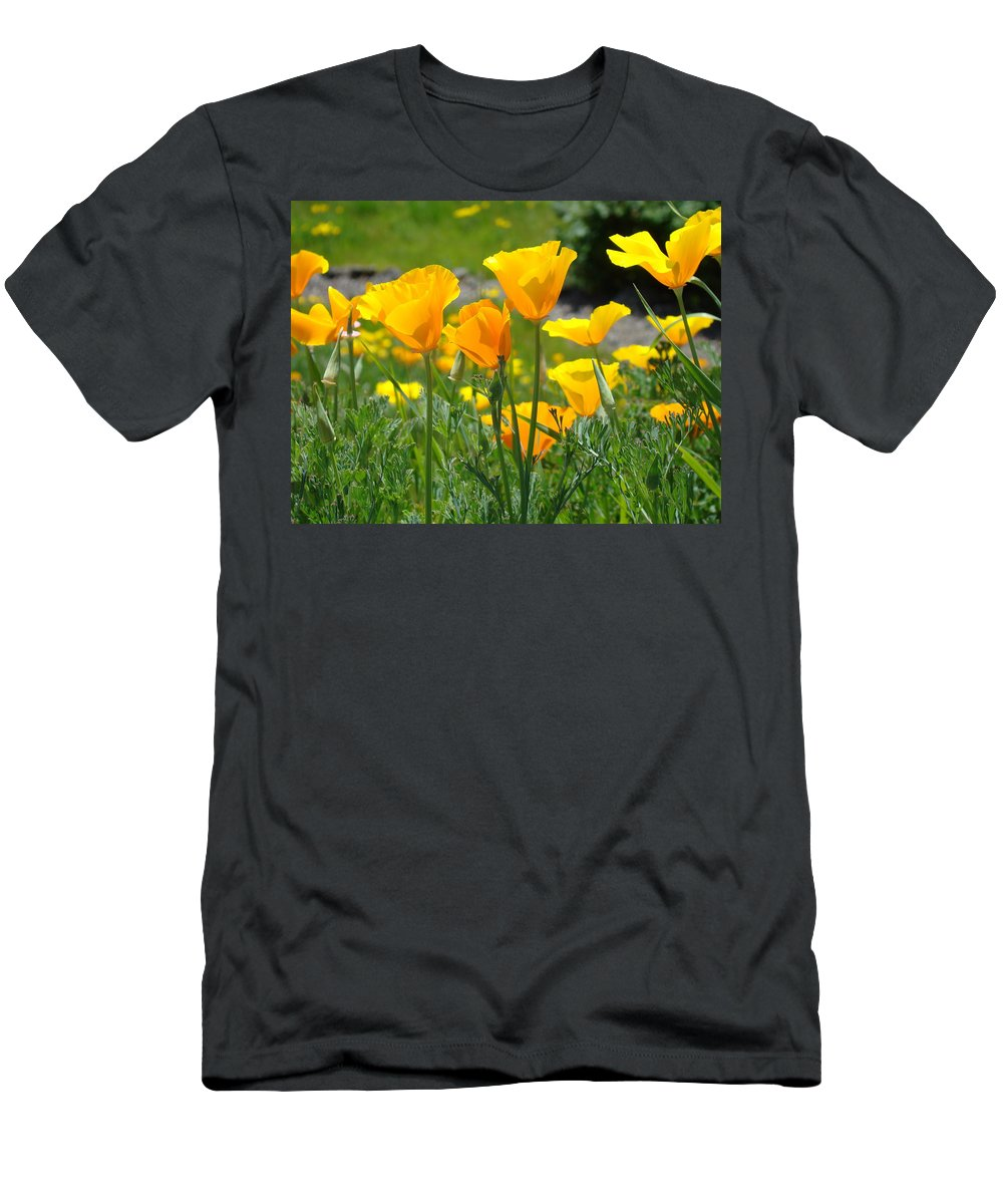 �poppies Art� Men's T-Shirt (Athletic Fit) featuring the photograph Office Art Poppies Poppy Flowers Giclee Prints Baslee Troutman by Baslee Troutman