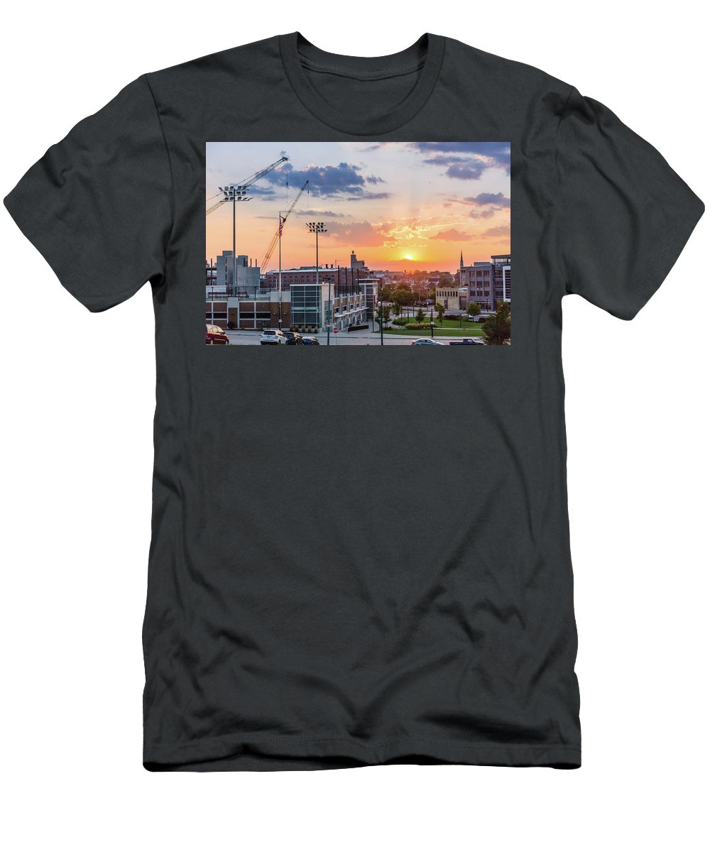 Sunset Men's T-Shirt (Athletic Fit) featuring the photograph Ogden Hill Sunset Over Downtown by Vincent Buckley