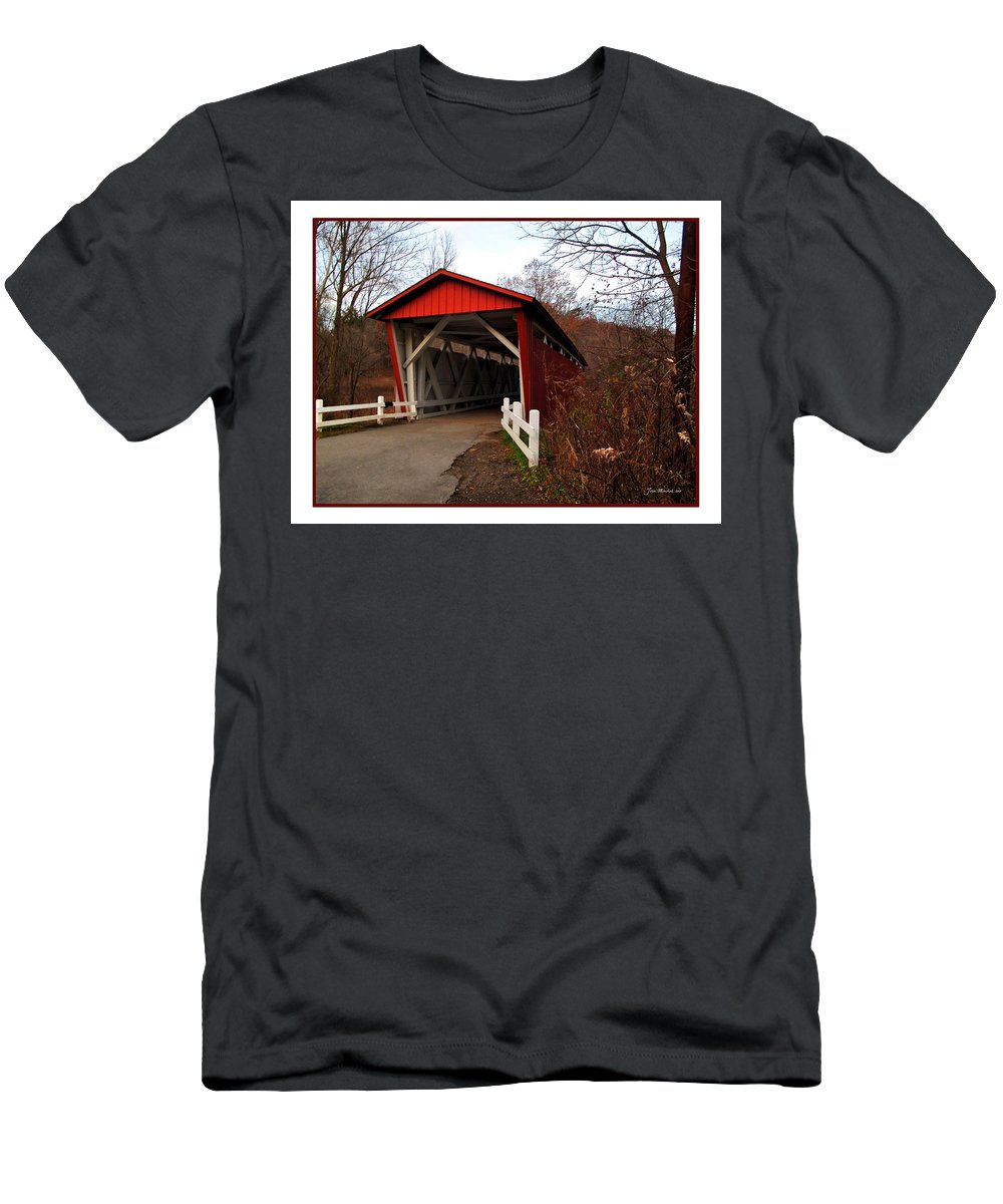 Bridge Men's T-Shirt (Athletic Fit) featuring the photograph Ohio Covered Bridge by Joan Minchak