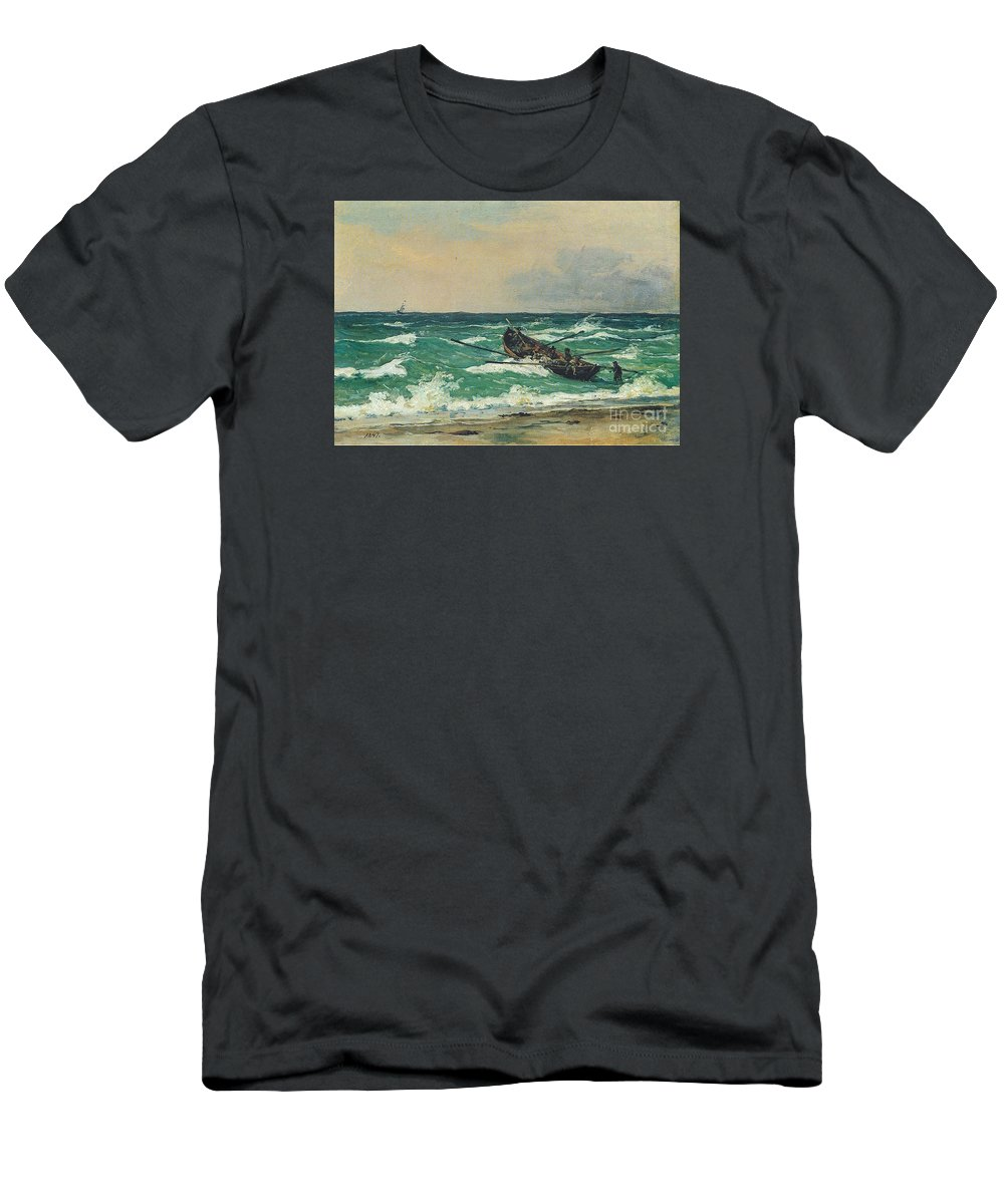 Martinus Rorbye Rorbye Paintings Oil Painting Danish Golden Age Men's T-Shirt (Athletic Fit) featuring the painting Oil Painting Danish Golden Age by MotionAge Designs