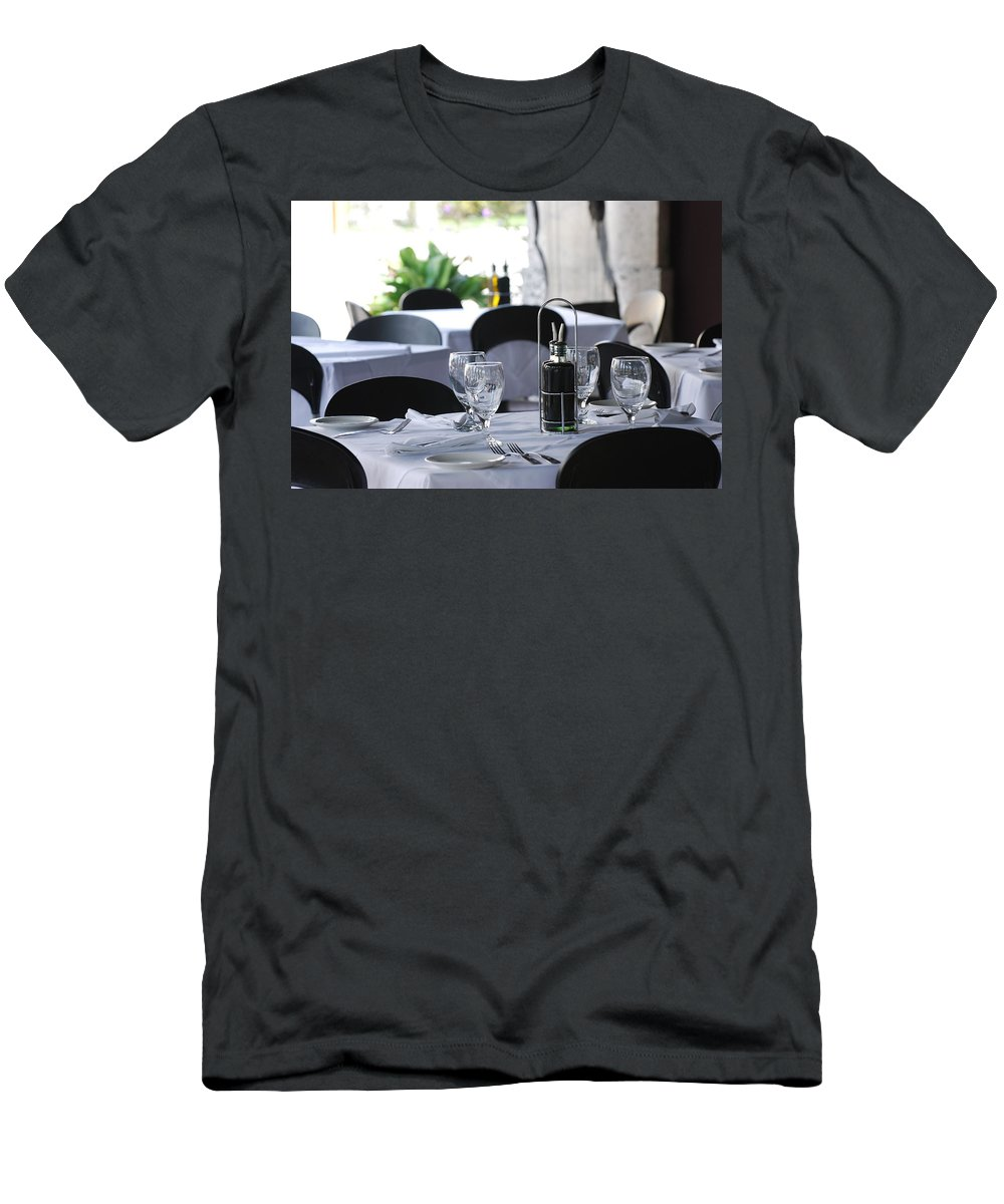 Tables Men's T-Shirt (Athletic Fit) featuring the photograph Oils And Glass At Dinner by Rob Hans