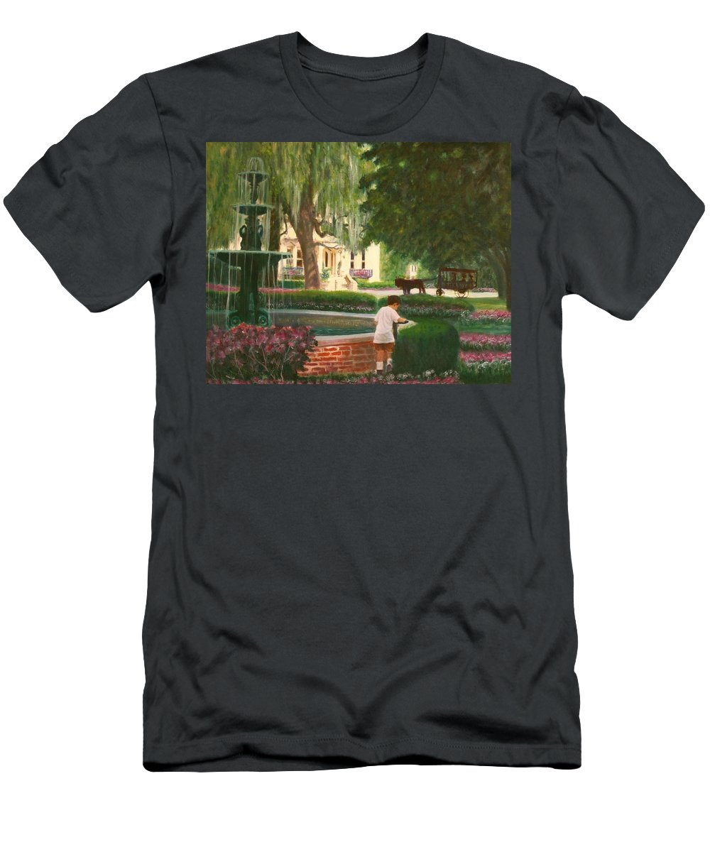Savannah; Fountain; Child; House T-Shirt featuring the painting Old And Young Of Savannah by Ben Kiger