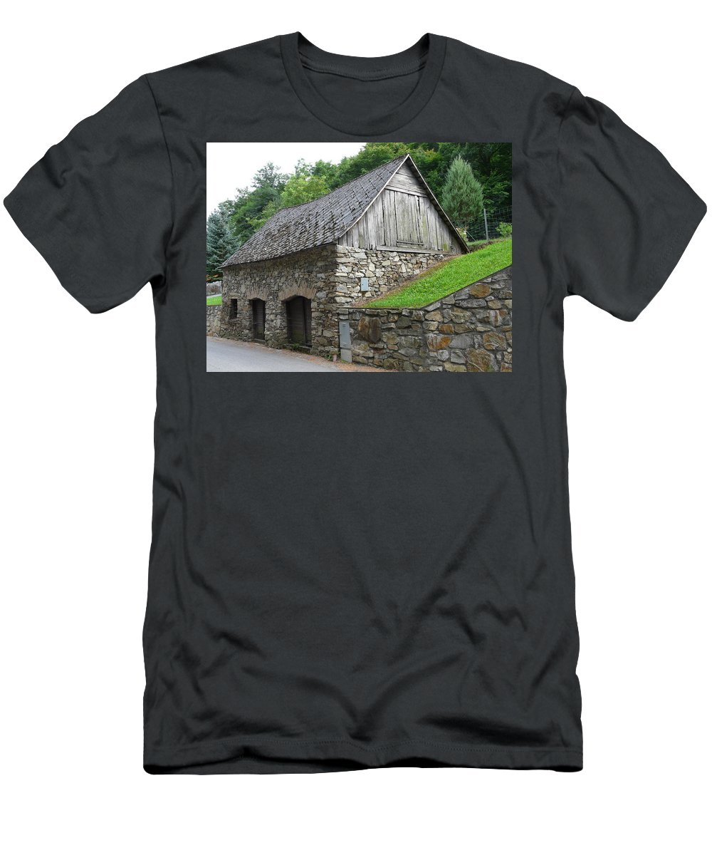 Old Men's T-Shirt (Athletic Fit) featuring the photograph Old Austrian Barn by Valerie Ornstein