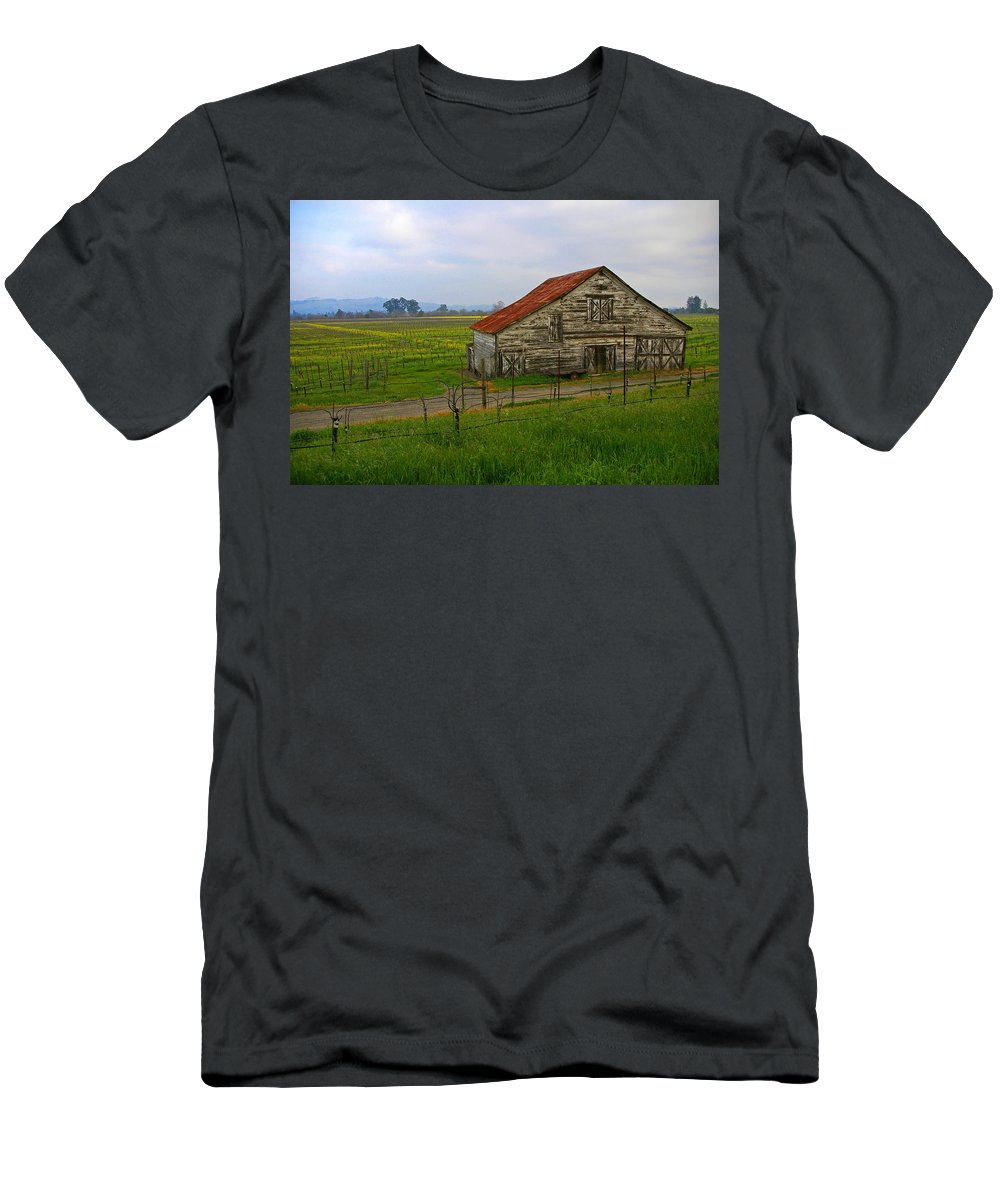 Barn Men's T-Shirt (Athletic Fit) featuring the photograph Old Barn In The Mustard Fields by Tom Reynen
