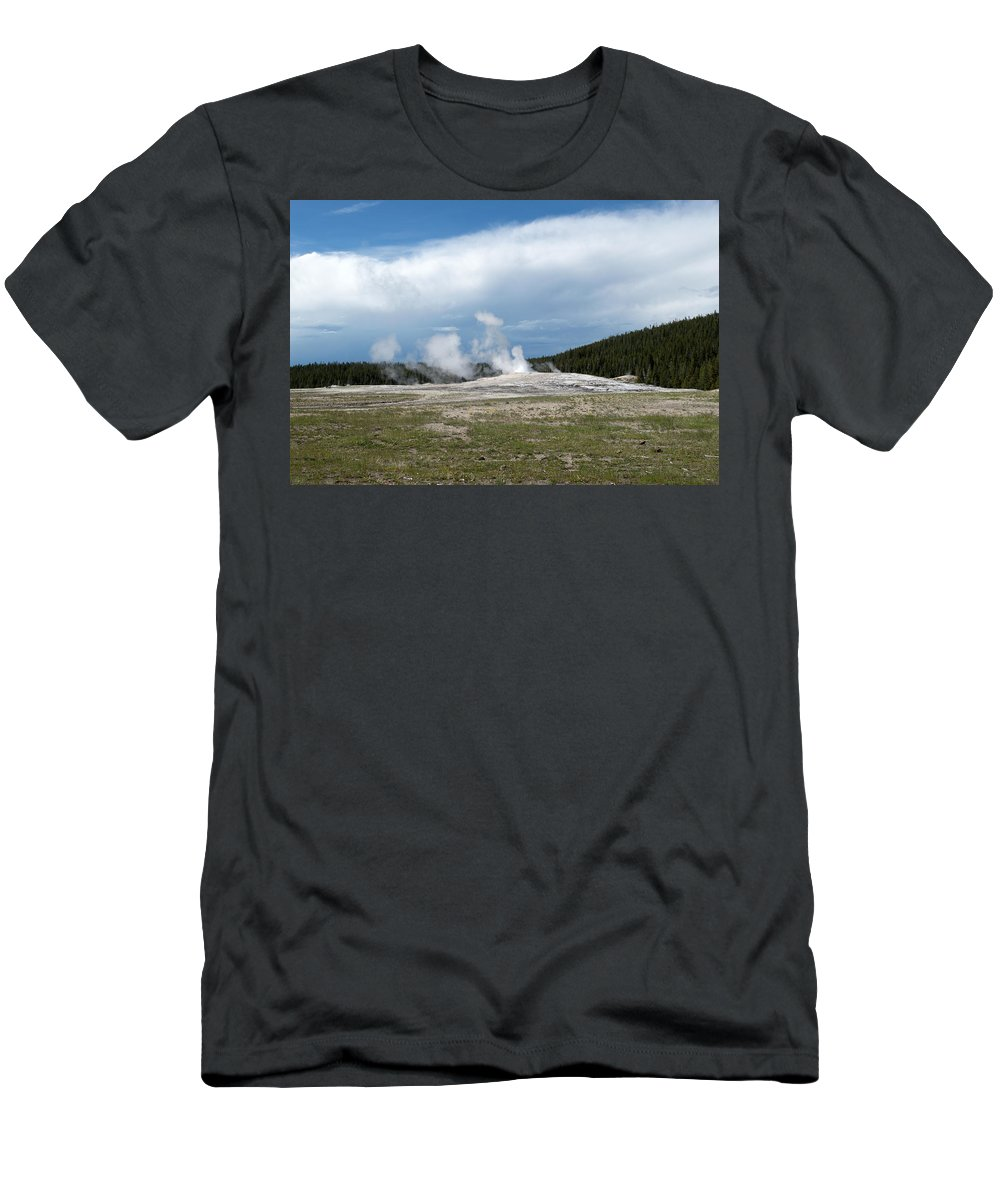 Geyser Men's T-Shirt (Athletic Fit) featuring the photograph Old Faithful Before by Linda Kerkau