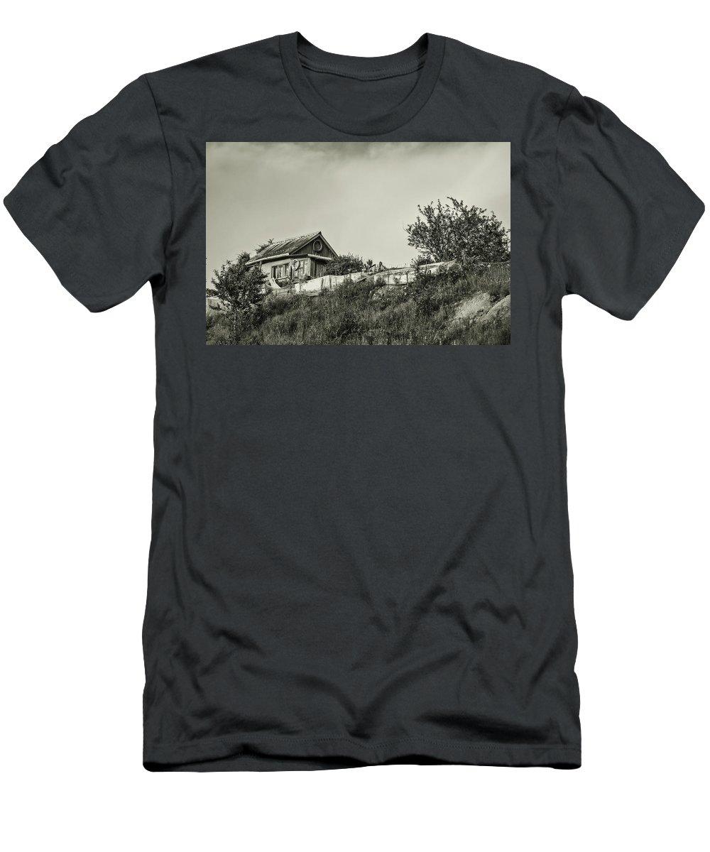 Mariia Kalinichenko Men's T-Shirt (Athletic Fit) featuring the photograph Old House On The Hill by Mariia Kalinichenko