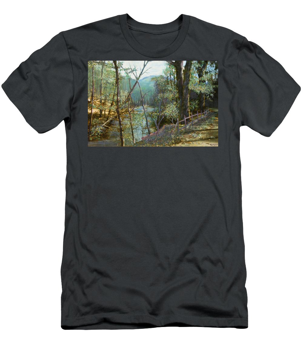River; Trees; Landscape Men's T-Shirt (Athletic Fit) featuring the painting Old Man River by Ben Kiger