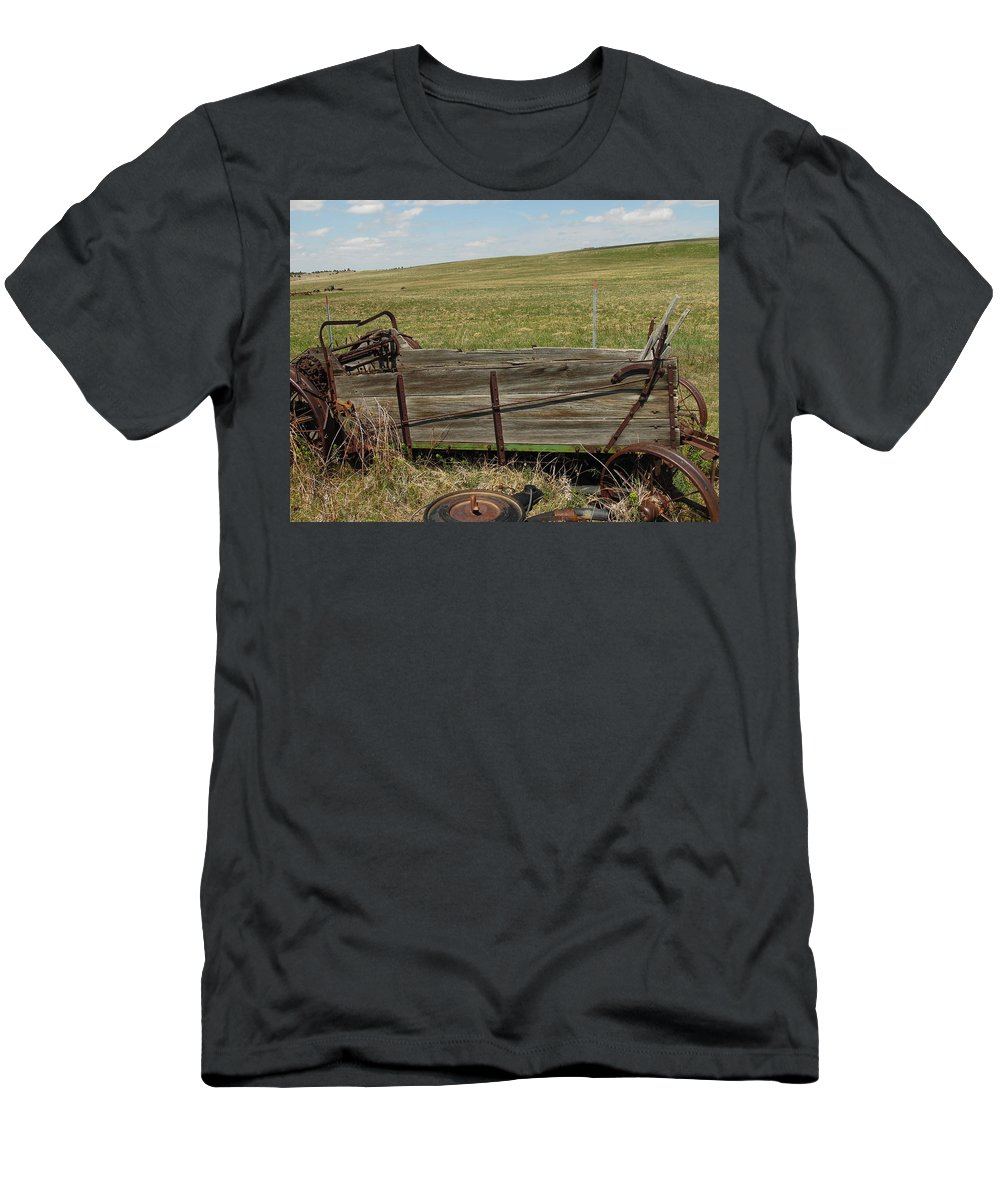 Old Men's T-Shirt (Athletic Fit) featuring the photograph Old Manure Spreader by Pamela Pursel