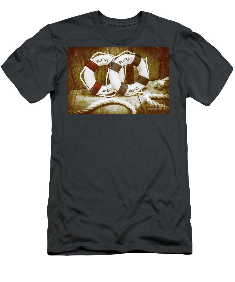 Lifering Men's T-Shirt (Athletic Fit) featuring the photograph Old Nautical Art by Jorgo Photography - Wall Art Gallery