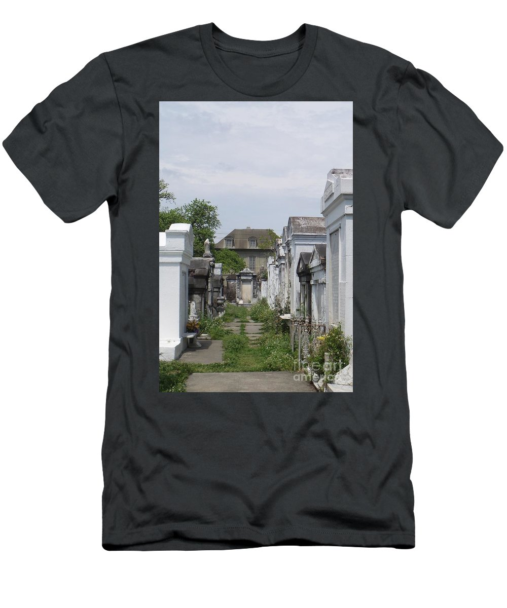 Cemetery Men's T-Shirt (Athletic Fit) featuring the photograph Old New Orleans Cemetery - The Big House by Ann Davis