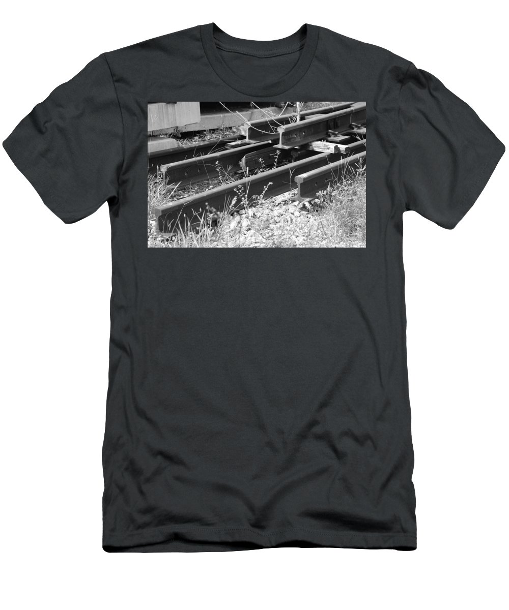 Black And White Men's T-Shirt (Athletic Fit) featuring the photograph Old Rails by Rob Hans