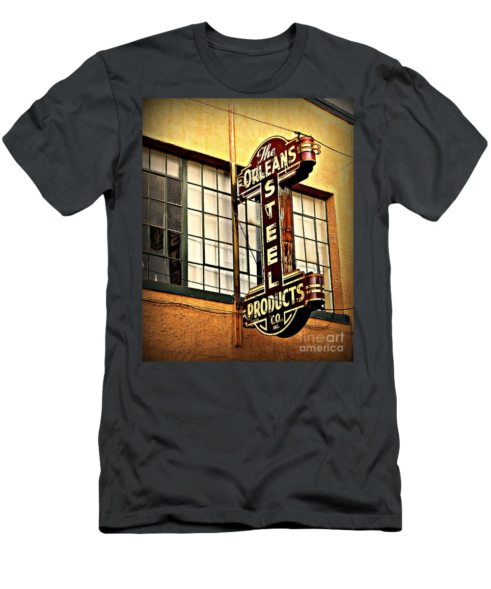 New Orleans Men's T-Shirt (Athletic Fit) featuring the photograph Old Steel Neon Sign by Perry Webster