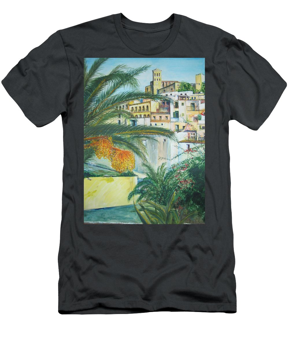 Ibiza Old Town T-Shirt featuring the painting Old Town Ibiza by Lizzy Forrester