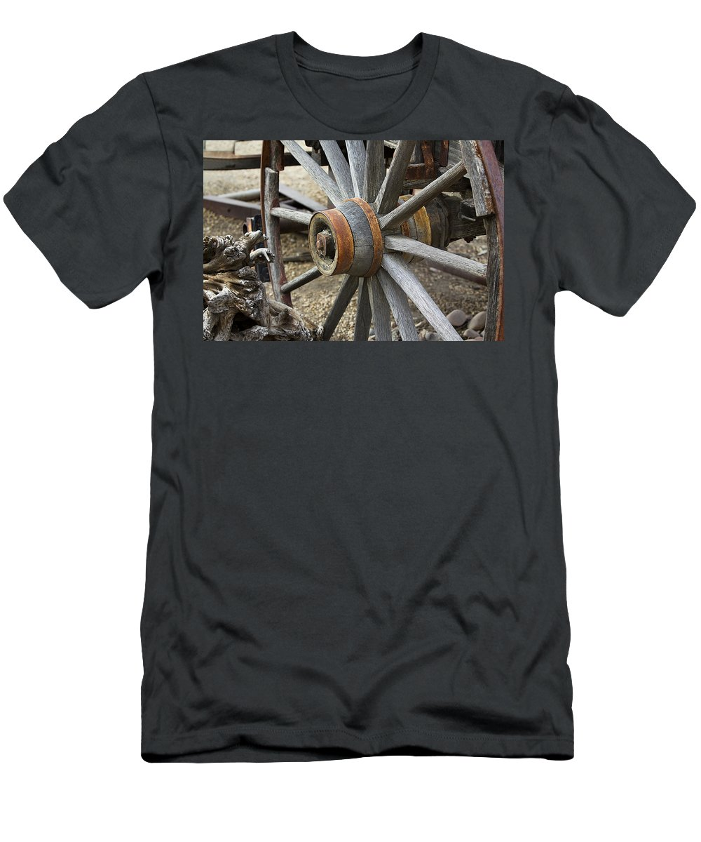 Wheel Men's T-Shirt (Athletic Fit) featuring the photograph Old Waagon Wheel by Phyllis Denton