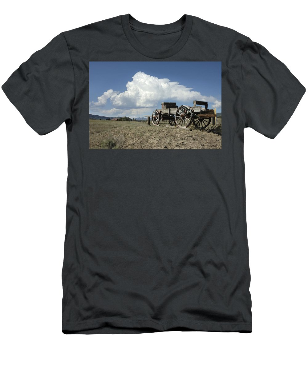 Wagon Men's T-Shirt (Athletic Fit) featuring the photograph Old Wagon Out West by Jerry McElroy