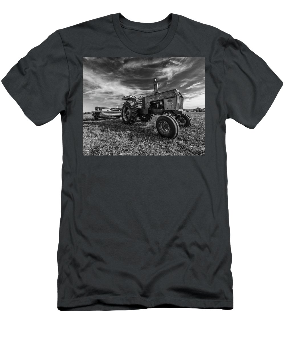 Tractor Men's T-Shirt (Athletic Fit) featuring the photograph Old White Tractor In The Field by Thomas Visintainer