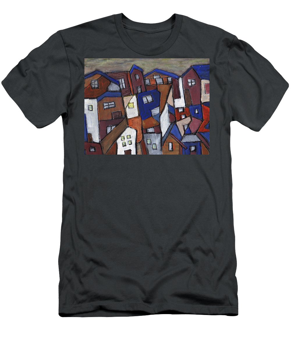 Urban Men's T-Shirt (Athletic Fit) featuring the painting Olde Towne by Wayne Potrafka