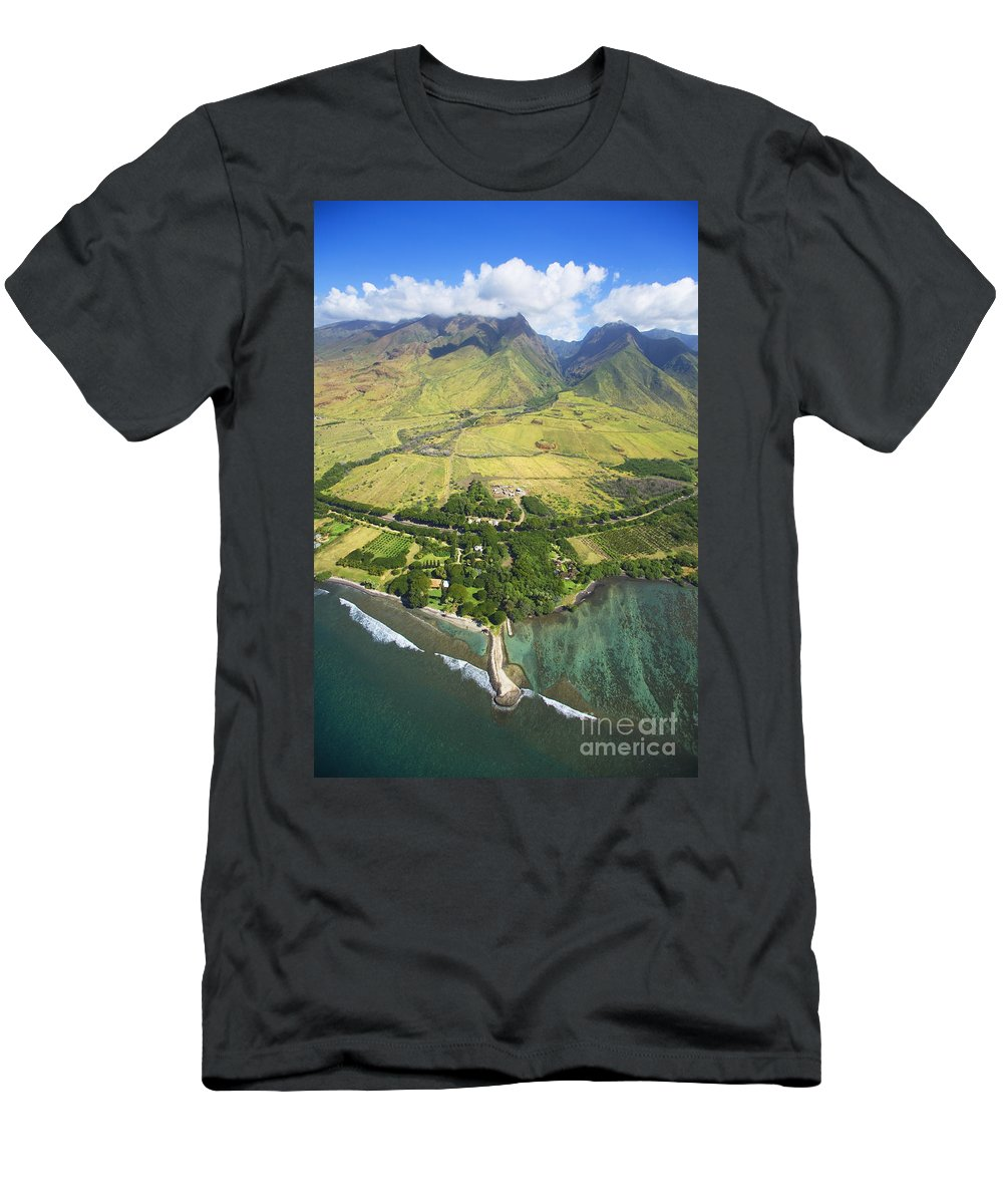 Above Men's T-Shirt (Athletic Fit) featuring the photograph Olowalu Aerial by Ron Dahlquist - Printscapes