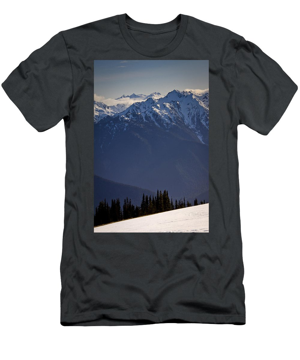 Olympic Mountains Men's T-Shirt (Athletic Fit) featuring the photograph Olympic National Park by Albert Seger