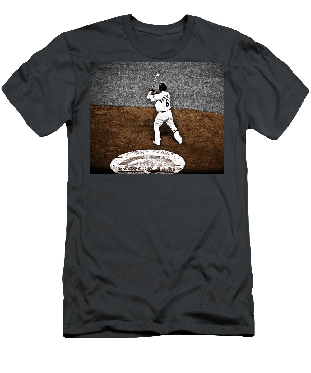 Baseball Men's T-Shirt (Athletic Fit) featuring the photograph Omar Quintanilla Pro Baseball Player by Marilyn Hunt