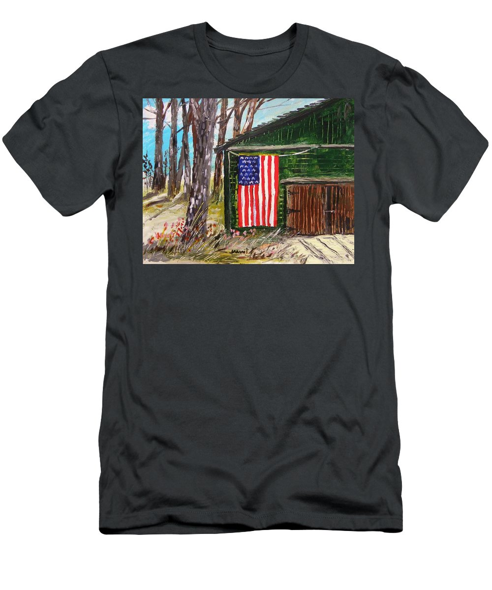 American Flag Men's T-Shirt (Athletic Fit) featuring the painting On A Veteran's Barn by John Williams